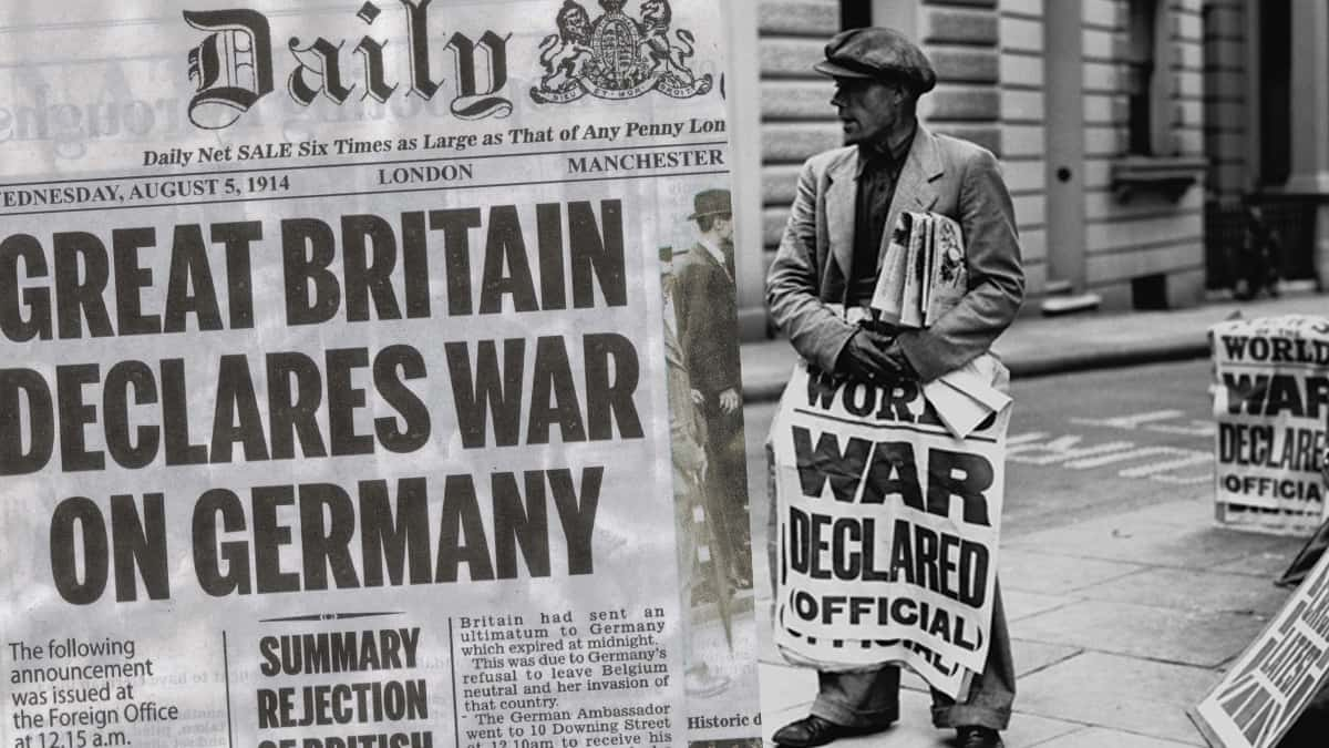 Image result for britain declared war on germany in ww1
